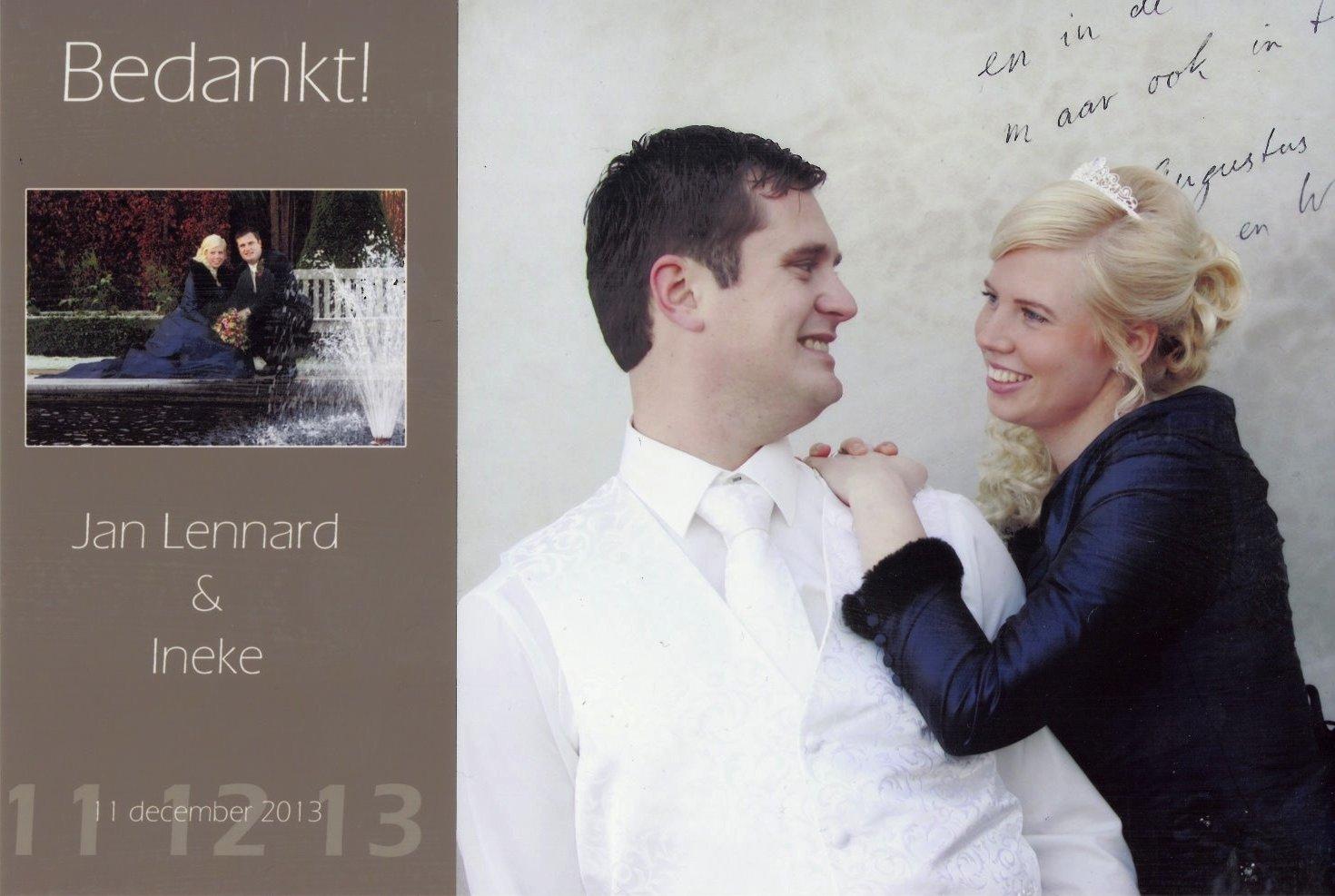 Bruidspaar Jan-Lennard Kempeneers & Ineke Heuvelman (11-12-2013)
