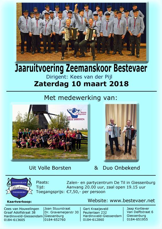 Poster Bestevaer 2018 Jaaruitvoering Zeemanskoor Bestevaer in De Til Giessenburg op 10 maart 2018